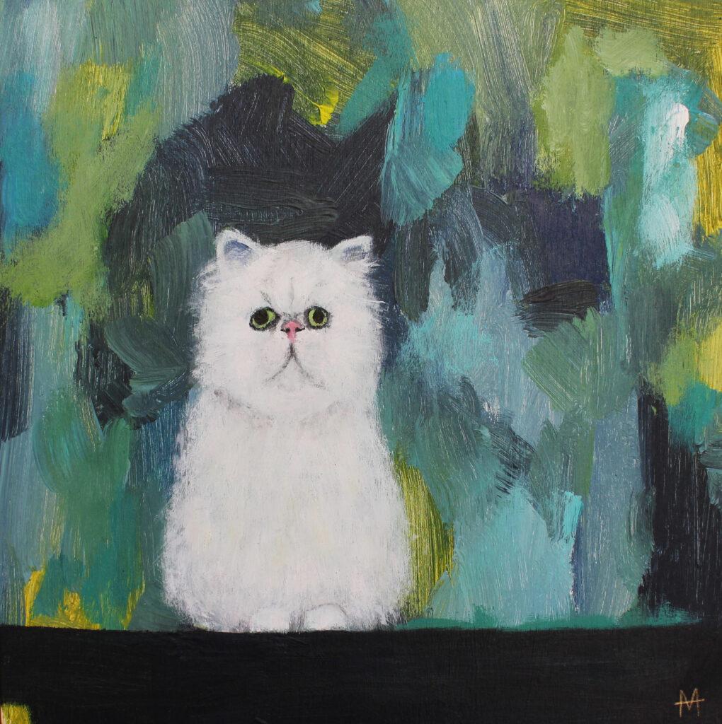 cat painting, grumpy cat, deconstructed realism