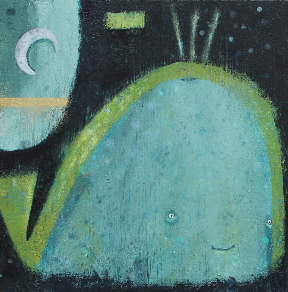 whale painting, moon art, childrens illustration, Irish art, contemporary art
