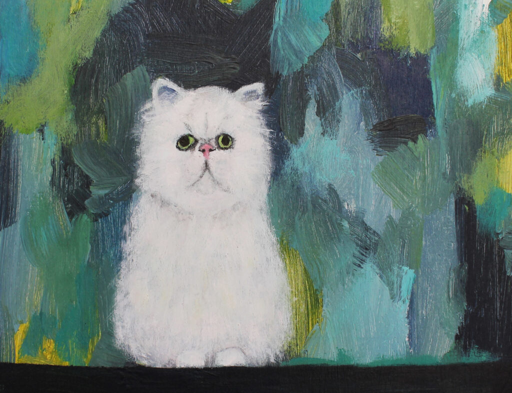 cat, grumpy cat, cat art, white fluffy cat