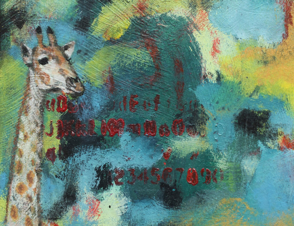 Giraffe painting, Irish art, Irish artist, animal art, contemporary painting