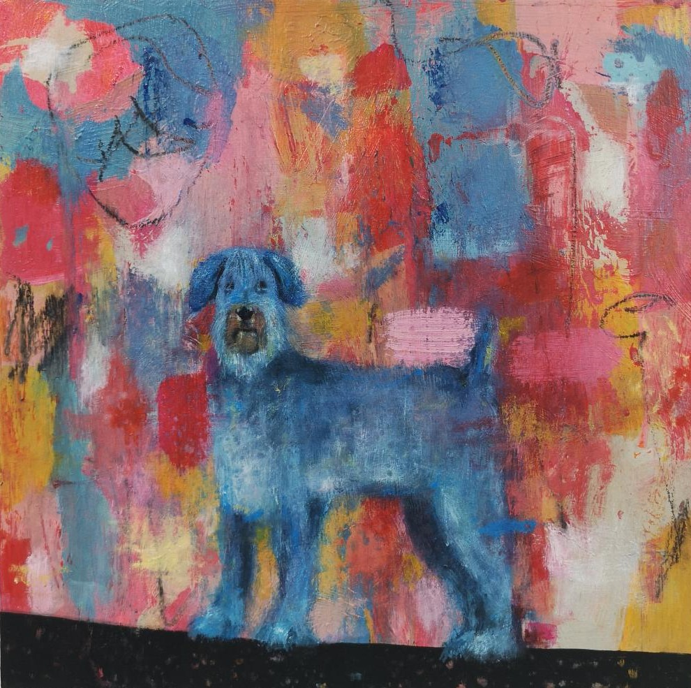 dog painting, disrupted realism, art for sale by artist, Irish art