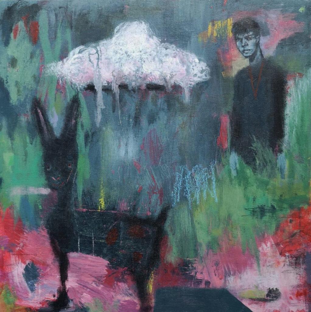 Surrealism, donkey painting, male model painiting