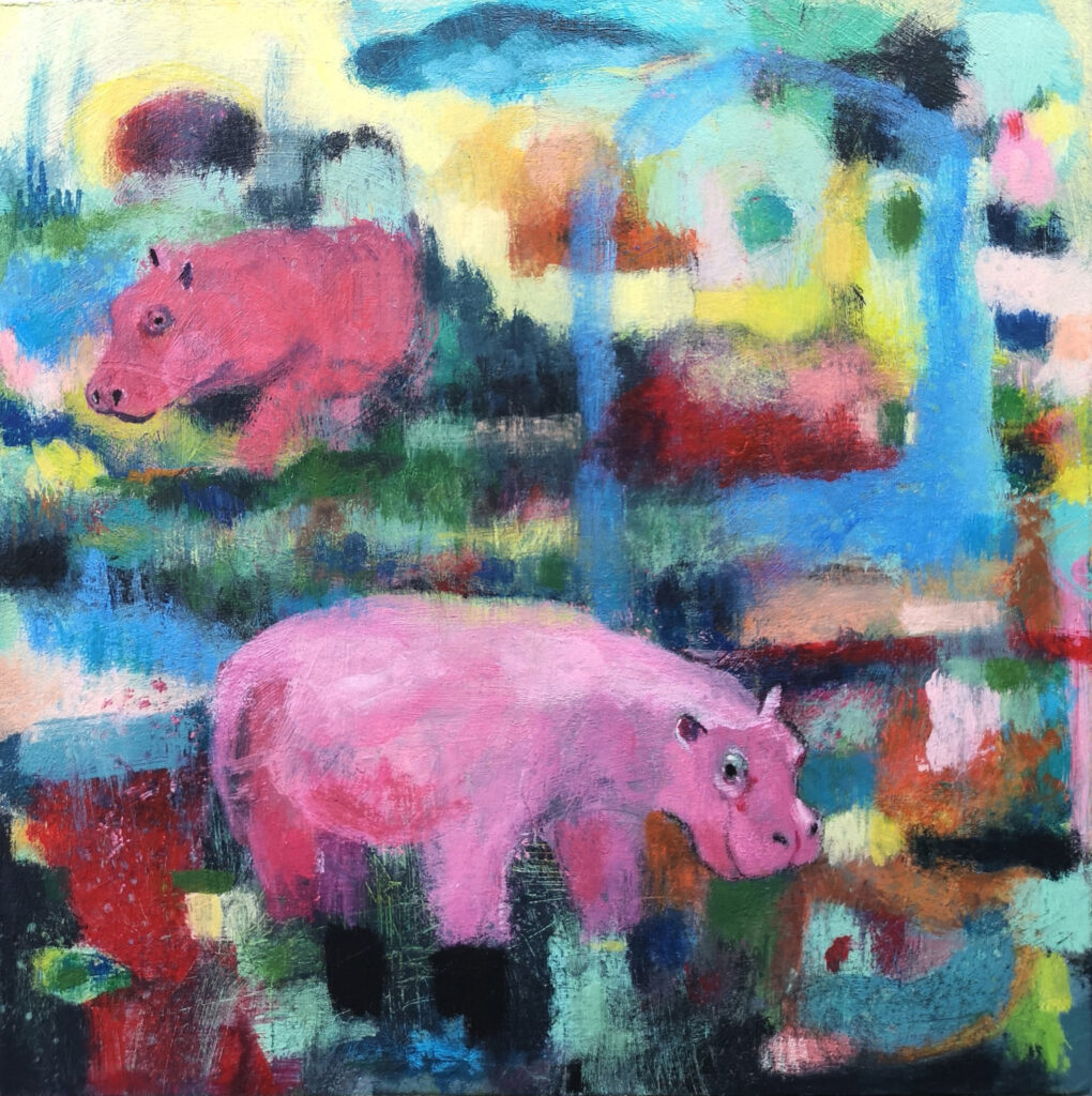 Hippo art, pink hippos, contemporary painting, patchwork art