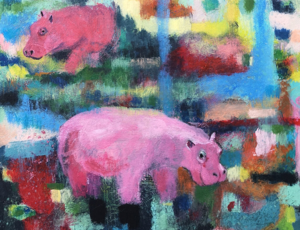 Pink hippos, contemporary art, surrealism, art for sale
