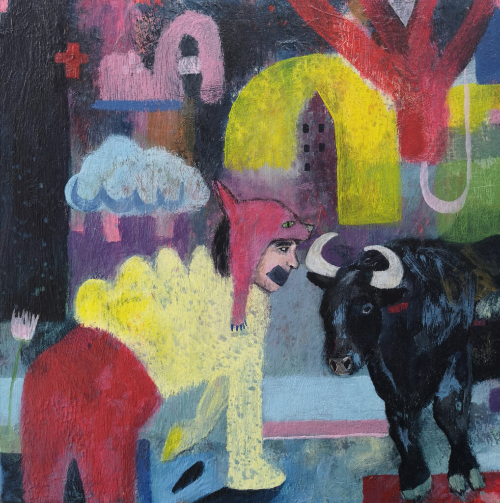 Bull painting, contemporary painting, surrealism, affordable art