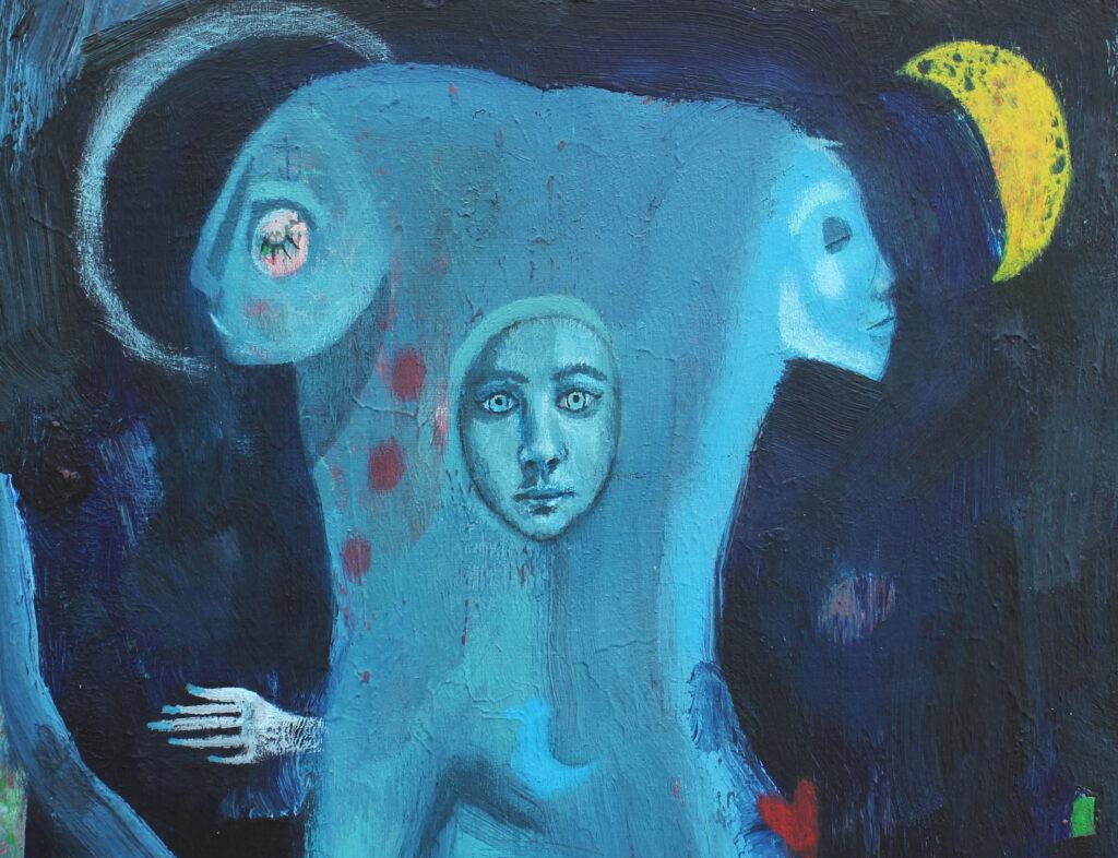 Moon art, spiritual art, surrealism, mystical art, female power