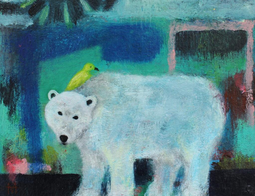 polar bear art, bird art, fold art, animal art, irish artist, contemporary painting