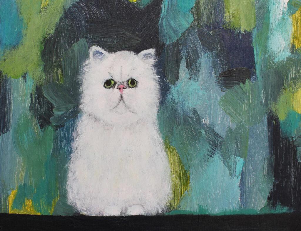 cat, grumpy cat, cat art, white fluffy cat