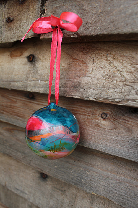 Holiday hand painted baubles