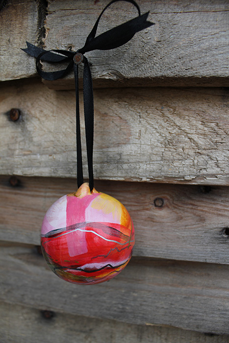 Holiday ornaments hand painted by artist