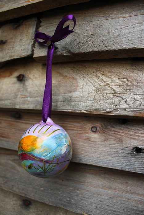 Hanging painted ornaments