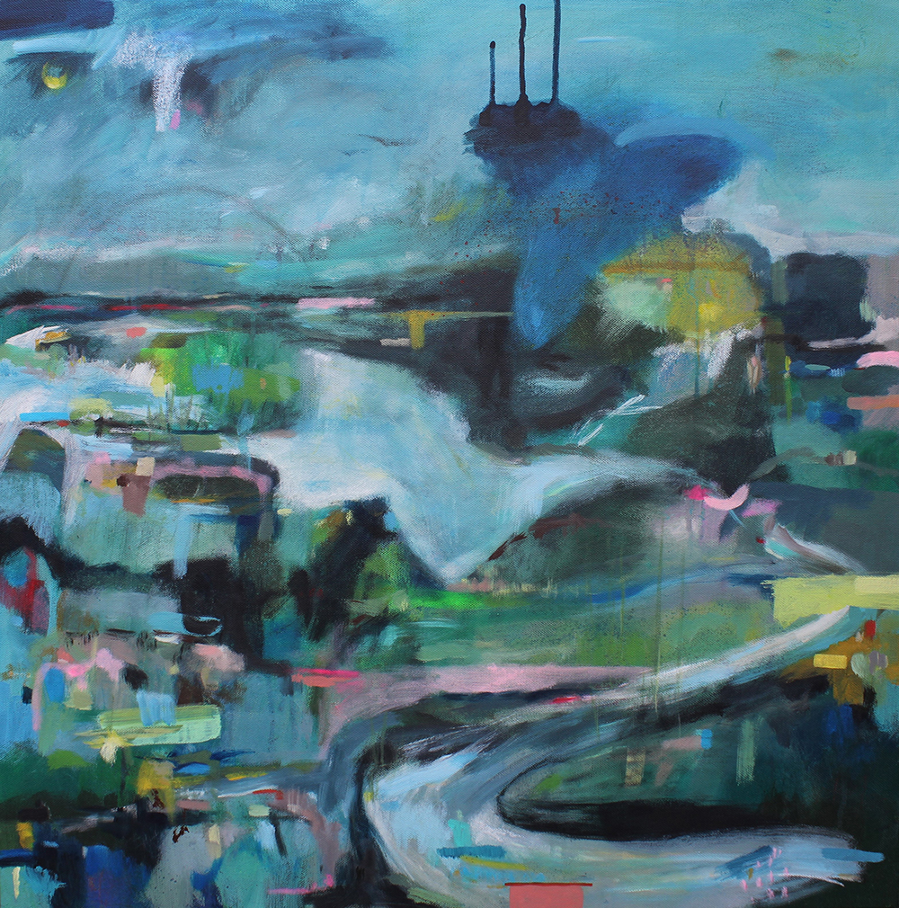 Blue abstract landscape painting