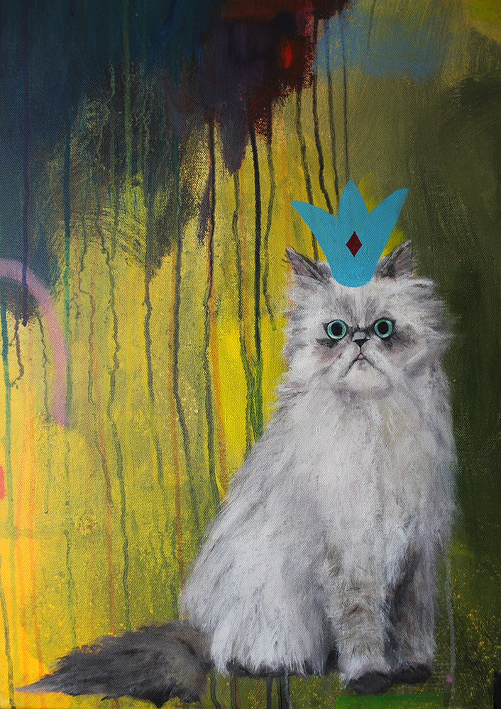 Grumpy cat painting with crown